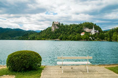 Bled castle with lake in foreground in Slovenia Stock Photography