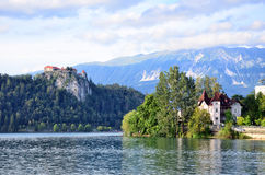 Bled Castle at Lake . Slovenia Royalty Free Stock Photography
