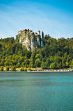 Bled castle from the lake Stock Photos