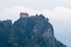 Bled Castle is a medieval castle built on a precipice above the city of Bled in Slovenia, overlooking Lake Bled. Stock Photo