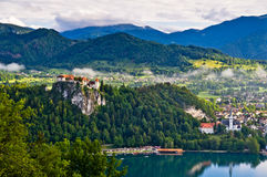 Bled Castle in the morning Stock Images