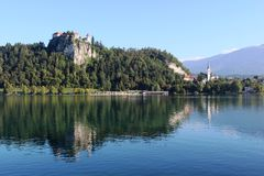 Bled Castle and reflections in Lake Bled Slovenia Royalty Free Stock Photos