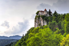 Bled Castle, Slovenia. Bled Castle seen from Lake Bled, Slovenia stock photo