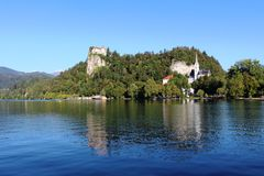 Bled Castle and St Marys church Lake Bled Slovenia Stock Images