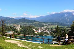 Bled Castle from Straza (hill) viewpoint Slovenia Stock Image