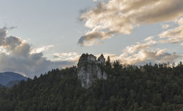 Bled castle in sunset royalty free stock photos