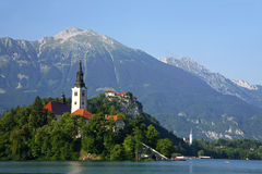 Bled Church. Tourist attraction of The Church of Assumption , Lake Bled, Slovenia Royalty Free Stock Photo