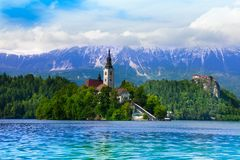 Bled church and bell tower Royalty Free Stock Photos