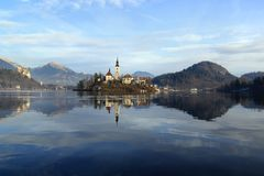 Bled Church and Castle Stock Photos