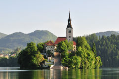 Bled - church on island royalty free stock photos