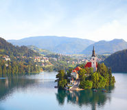 Bled. Church on island in the middle of Bled lake. Slovenia stock photos