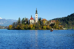 Bled, Church on the lake island stock image