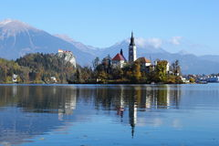 Bled I. Bled lake scenery with church on the island Royalty Free Stock Images