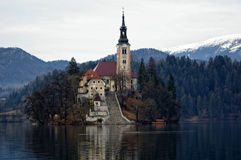 Bled island. Small island on the lake Bled with a church on it stock photo