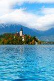 Bled island belltower Royalty Free Stock Photos