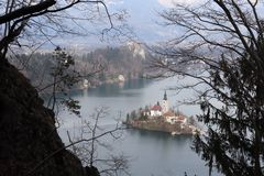 Bled island and castle royalty free stock photos