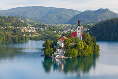 Bled. Island with church in the middle of the lake of Bled, Slovenia royalty free stock photos