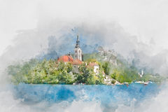 Bled Island, Lake Bled, Slovenia, watercolor. Green trees and buildings on Bled Island, Lake Bled, Slovenia, digital watercolor illustration Royalty Free Illustration