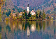 Bled island and lake view Royalty Free Stock Photo