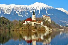 Bled - an island in the middle of the lake stock photography