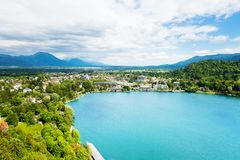 Bled lake from above Stock Photos