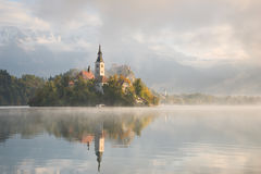 Bled Lake on a beautiful foggy morning Stock Image