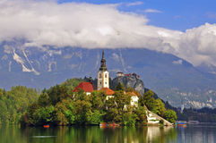 Bled lake. Bled beautiful lake in Slovenia Royalty Free Stock Photos