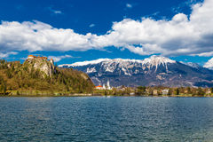 Bled Lake And Bled Castle With Mountain-Slovenia Royalty Free Stock Photo