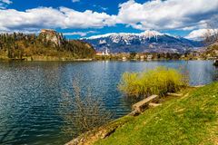 Bled Lake And Bled Castle With Mountain-Slovenia Royalty Free Stock Image