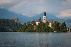 Bled Lake and Bled Island Stock Photo