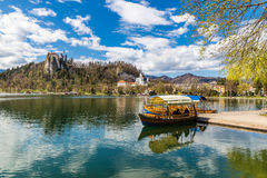 Bled Lake,Boat,Castle,St.Martin Church-Bled,Slovenia Stock Photos