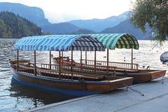 Bled lake boats Stock Photos