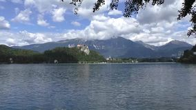 Bled lake,castel,slovenie 133558 stock video footage