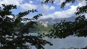 Bled lake,castel,slovenie 132937 stock video