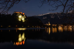 Bled. Lake with castle on church on hill and city in background.Slovenia Stock Photo