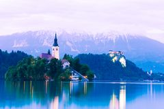 Bled lake castle and island church Stock Photography