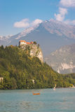 Bled lake, castle and surroundings Stock Photos