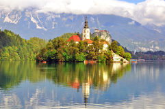 Bled lake. Chapel on Bled lake on summer, Slovenia stock photography