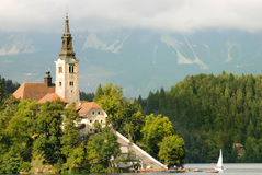 Bled lake with the church on island Royalty Free Stock Image