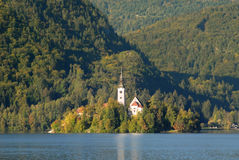 Bled lake with the church on island Stock Image