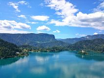 Bled. Lake and church, Slovenia Royalty Free Stock Photography