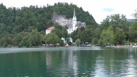 Bled lake,church slovenie 142839 stock video footage