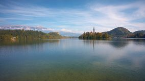 Bled Lake with island. Wide angle shot of Bled lake with Island. In foreground you can see the bottom of the lake. In the back, castle and Karavanke mountain Stock Images