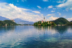Bled with lake, island, castle and mountains Royalty Free Stock Photos
