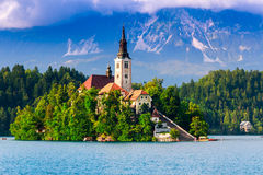 Bled with lake, island, castle and mountains Royalty Free Stock Images
