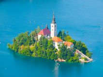 Bled lake with island and church Royalty Free Stock Photography
