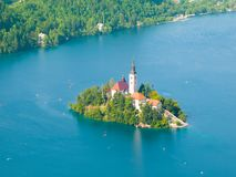 Bled lake with island and church Stock Image