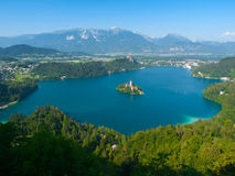 Bled Lake with island church and castle Stock Images
