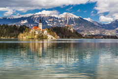 Bled Lake,Island,Church,Castle,Mountain-Slovenia. Amazing View On Bled Lake, Island,Church And Castle With Mountain Range (Stol, Vrtaca, Begunjscica) In The Royalty Free Stock Image