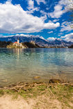 Bled Lake,Island,Church,Castle,Mountain-Slovenia. Amazing View On Bled Lake, Island,Church And Castle With Mountain Range (Stol, Vrtaca, Begunjscica) In The Royalty Free Stock Photo